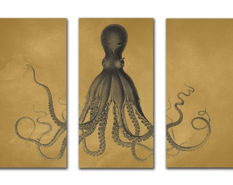 Octopus Print Set, Octopus Art, Octopus Triptych, Bodner Octopus, Nautical, Beach House Decor, Kraken Wall Art Antique Gold and Gunmetal