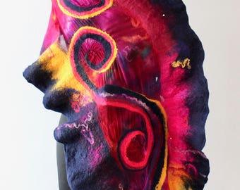 Fibre Wearable Art Handmade Merino Wool Felted Wrap Shawl Purple Fuchsia Pink Navy Blue