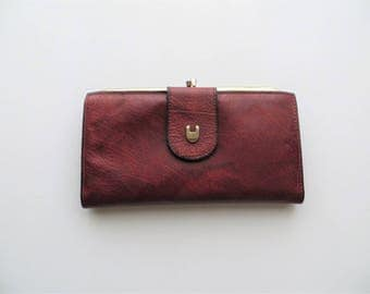 70s Sears Leather Wallet Red Checkbook Kisslock Bifold Ladies Wallet