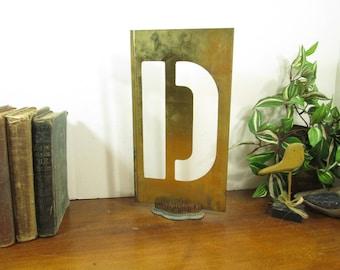 Large Brass Stencil D 12 Inch Brass Letter, Industrial Letter D