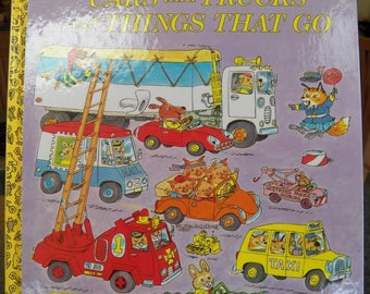 Vintage 1974 Huge Golden Book~Richard Scarry~CARS and TRUCKS and THINGS That Go nice