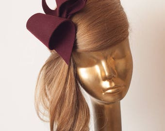 Unique Modern Burgundy FELT FASCINATOR. BRIDAL Fascinator . Burgundy Headpiece, Burgundy  Party Bow Fascinator for Women