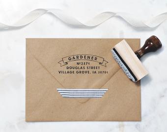 Banner Address Stamp – RSVP Envelope Stamp – Wood Handle Address Stamp – Self Inking Address Stamp