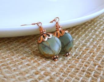 Jasper Drop Earrings - Green Khaki Natural Stone Dangle Earrings in Copper - Flower Leaves