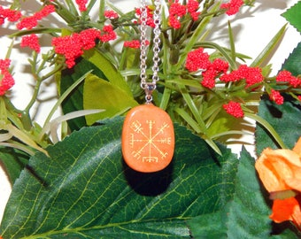 Vegvísir Heathen RED AVENTURINE Necklace Talisman - Charm necklace includes silver link chain