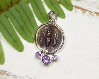 Honeybee Bee Pendant Necklace - Rustic - Amethyst Gemstones -  Sterling Silver - coin pendant II