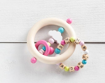 Personalized wooden teether, wood toy, cloud, rattle teether, custom gift, beaded toy, baby toy, baby gift, personalized baby gift, rainbow