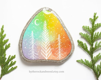 """Pastel Rainbow Trees Painted Rock, 3.5"""" by 3.5"""" Hand-Painted Stone, Tree Painting, Galaxy Painting, Moon and Stars, Nature Painting"""