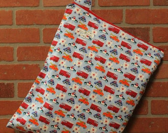 Cloth Diaper Wetbag, Rescue Trucks, Flannel, Diaper Pail Liner, Diaper Bag, Day Care Size, Holds 12 Diapers, Size Large with Handle #L137