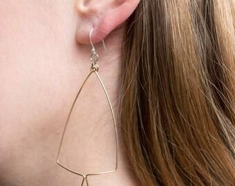 Gold Tassel Earring, Gold filled, Bent Wire Triangle Teardrop with Tassel