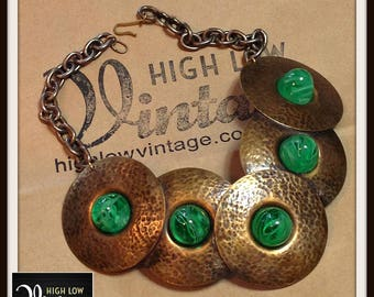 Vintage Green Glass Stones Hammered Copper Chunky Necklace FREE SHIPPING