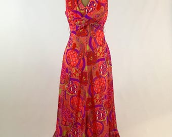 Vintage Mod 1960s Maxi Dress Psychedelic Paisley Print Maxi Dress Crepe Chiffon Vintage Women's Fashion Retro 1960s Garden Party Groovy