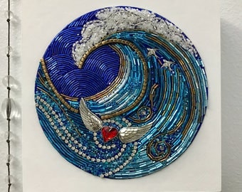 "Beaded Mosaic Art on Wood - ""HeartSwept"" - Ocean Heart Theme Orginal Art"