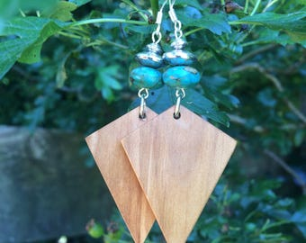 Hawthorn, turquoise and silver earrings handmade in Ireland