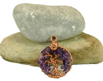 Amethyst birthstone tree-of-life ~ Women's amethyst necklace ~ Tree life copper jewelry ~ Boho amethyst jewelry ~ February tree-of-life