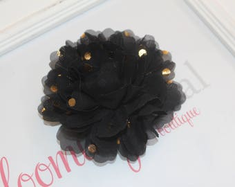 Black and Gold Metallic Chiffon Flower