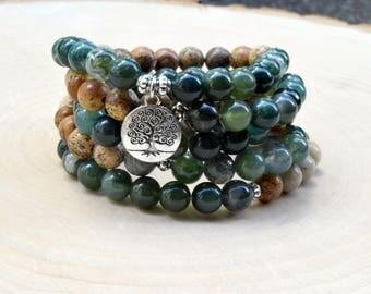 Gemstone Mala Bracelet, 108 Mala Bead, Mala Necklace, Tree of life Bracelet, Abundance and Stress Gemstone Beads, Meditation Buddhist Beads