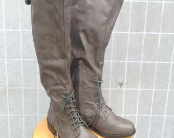 Steampunk Adventurer Boots, Ladies Tall Riding Boots