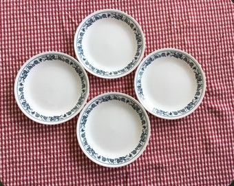 Vintage Corelle Luncheon Plates * Old Town Blue * Set of 4 * Pyrex Compatibles