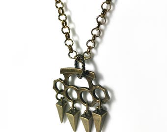 Brass Knuckle Necklace with Spikes/Pyramid - Antique Brass Jewelry - Knuckle Duster