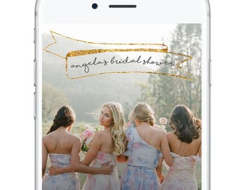 Simple Elegant Bridal Geofilter, Bridal Shower Snapchat Geofilter, Gold Sparkly Bridal Wedding Snapchat Geofilter, Minimal Cute Beautiful