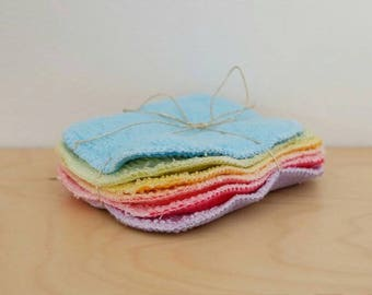 set of 6 washable wipes miropolaire and bamboo Terry. cotton makeup. baby wipe. zero waste. zero waste. oekotex 100