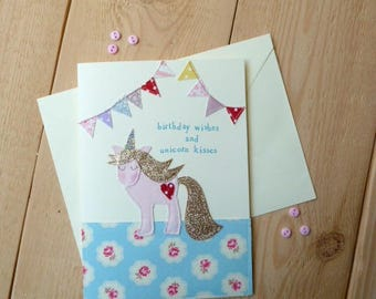 Unicorn Birthday Card, Handmade Card, Textile Card, Unicorn Party,  Birthday Card