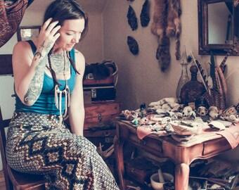 Leather Fringe Charmed Tribal Boho Treasure Necklace