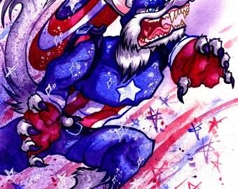 Capwolf, Captain America Werewolf, Original Watercolor Painting