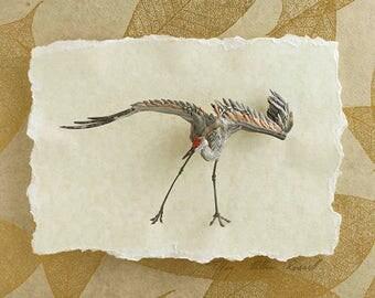 Blank Card - 'Flow' - Sandhill Crane Paper Sculpture, Print