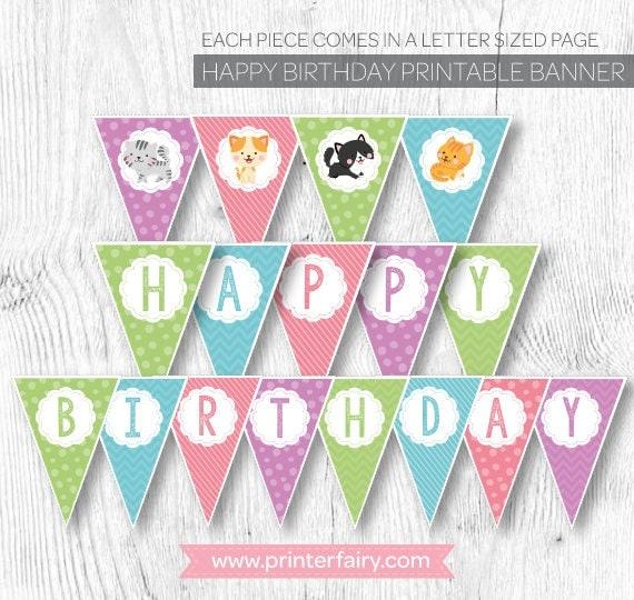Cat Birthday Banner: Cat Banner Cat Birthday Party Pet Adoption Party Kitty Cat