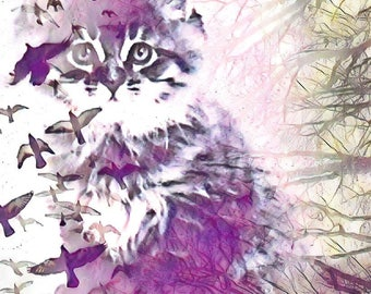 Lavender kitty sticker