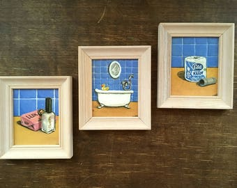 Vintage bathroom pictures Set of 3 small wall hangings Bathroom pictures set Bathroom Wall Gallery
