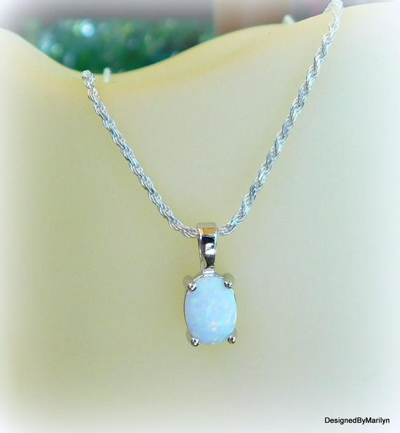 Sterling silver and Opal necklace, October birthstone, stone of faithfulness and confidence, precious jewel