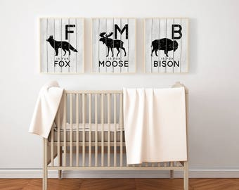 Rustic Nursery Art PRINTABLES - North American Woodland Animals - Canadian Wildlife - Set of 3 - Grey and Black - Moose - Fox - Bison