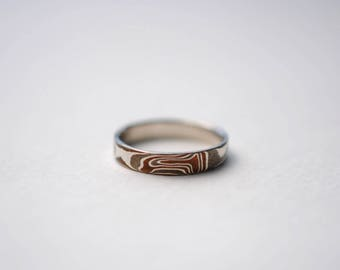Three Tone Mokume Gane Women's Ring Band