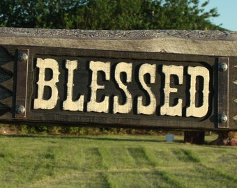 Rustic Blessed sign