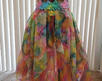 Ethereal Rainbow Garden Nymph Floral Bohemian Bridal Wedding Ball Gown Set Costume Party Festival