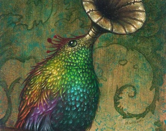 "Louis Humming Bird - 5x4"" oils on wood panel ( size including frame- 7x6"" ) Original Piece of art."