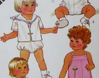 Vintage 1981 Simplicity  Toddler's One-Piece Playsuit, Romper and Jacket Pattern 5523 Size 1/2 -1