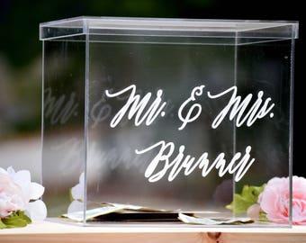 Wedding Card Box - Personalized Card Box - Wedding Keepsake Box - Acrylic Card Box - Wedding Card Box with Slot - Clear Card Box