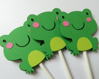 Frog Cupcake Topper Frog Baby Shower Frog Birthday Party Frog Decorations • Set of 12