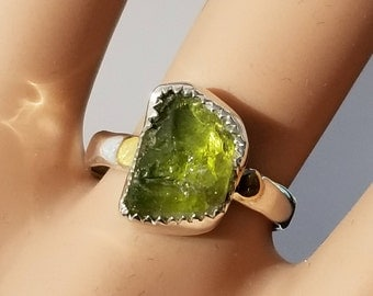 Size 6 1/2 Natural Raw PERIDOT crystal Ring , 24 Kt Gold & Sterling Silver