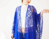 Lace Kimono Boho Kimono Royal Blue Kimono Fringe Kimono Fringe Pareo Wife Gift For Mom Girlfriend Gift for Women Daughter Gift / KIMONO
