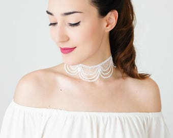 Summer Party Bridal Choker White Lace Choker Bridal Jewelry Bridal Accessory Wedding Jewelry Girlfriend Gift For Her Engagement Gift/ MARINA