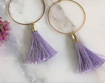 Bohemian Lavender Tassel Statement Hoop Earrings