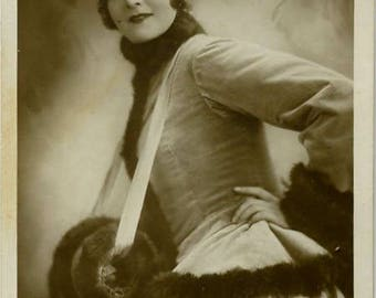 Lya Mara in fun costume antique movie photo card