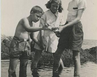 Children with crab antique art photo by Bernard Hoffman