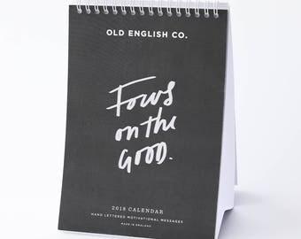 Hand Lettered Motivational 2018 Calendar - Desktop Calendar - Typography Calendar - Motivational Quotes - Motivational Stationery