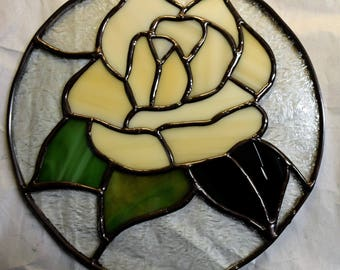 Round Stained Glass With Yellow Rose